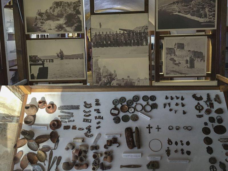 Bonet'te yer alan Çanakkale Savaşları'ndan fotoğraf kareleri ve calışma esnasında araziden çıkan tarihi eserler.