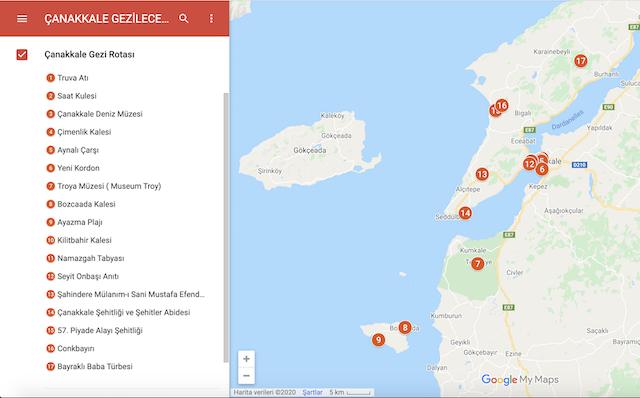 Çanakkale Gezilecek Yerler Haritası