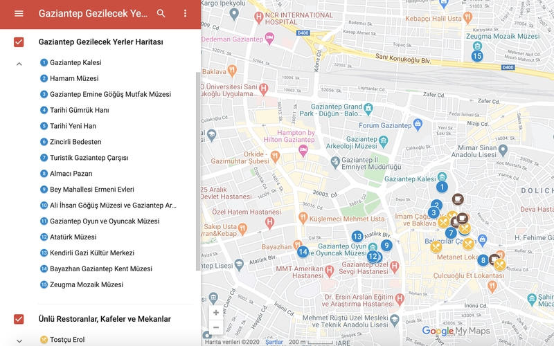 Gaziantep Gezilecek Yerler Haritası